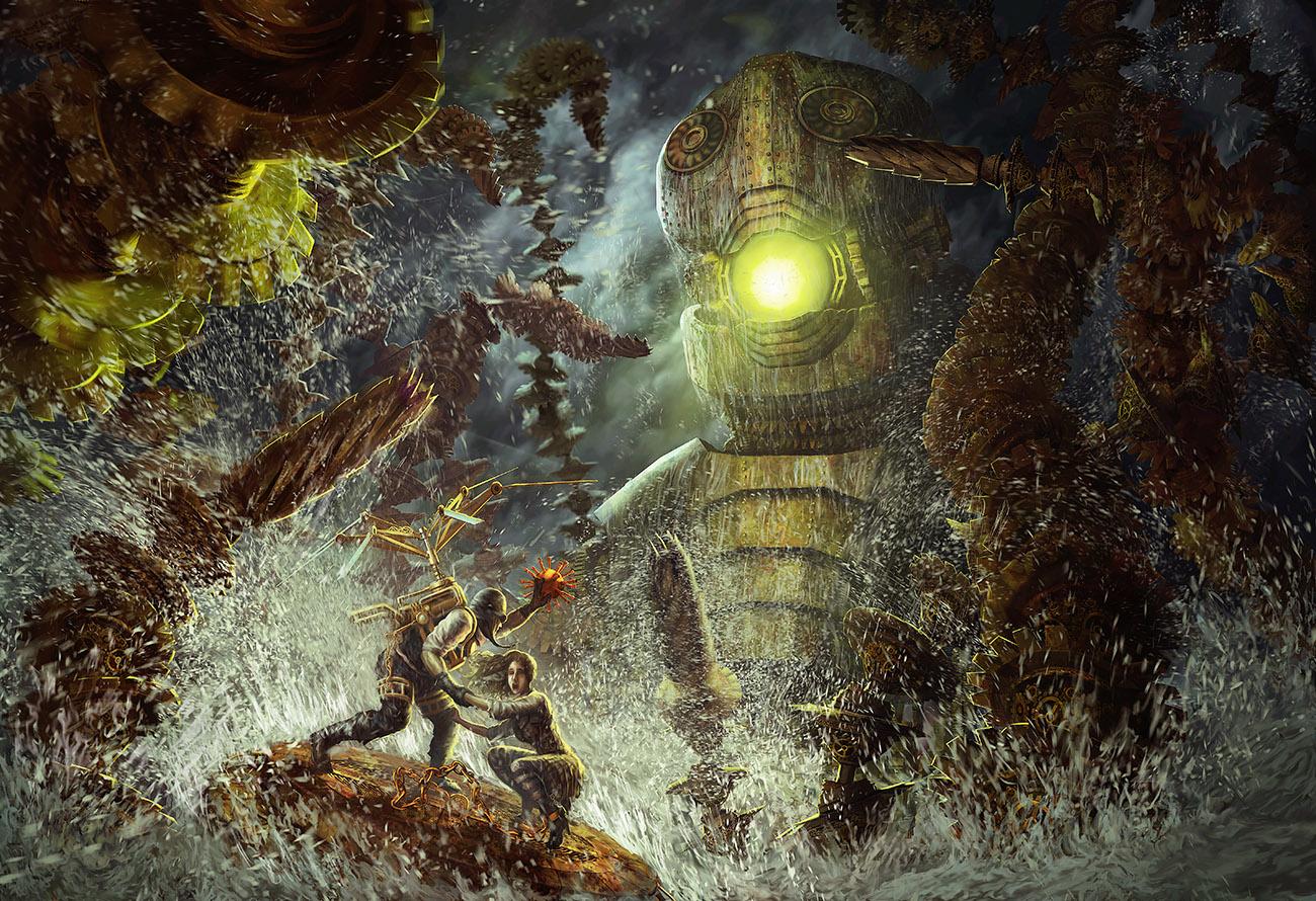 Steampunk Perseus vs. The Kraken